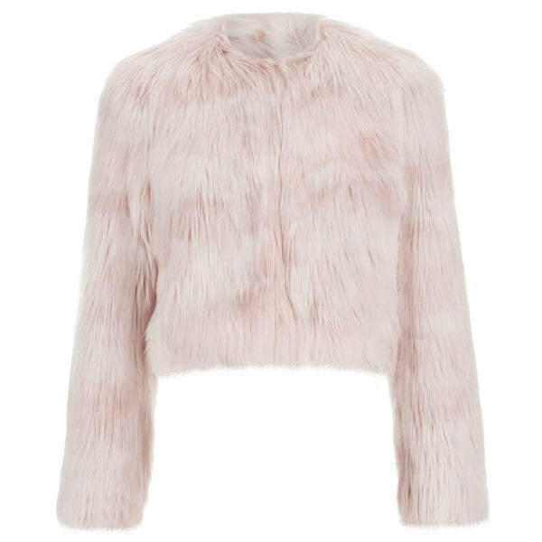 REDValentino Women's Cropped Faux Fur Jacket - Nudo ($255) ❤ liked on Polyvore featuring outerwear, jackets, pink, red valentino jacket, red valentino, faux fur lined jacket, fake fur jacket and cropped jacket