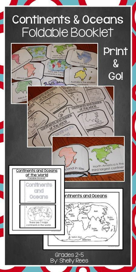 Continents and Oceans Foldable Booklet - LOVE this! SO easy to make...my students will enjoy this little project!