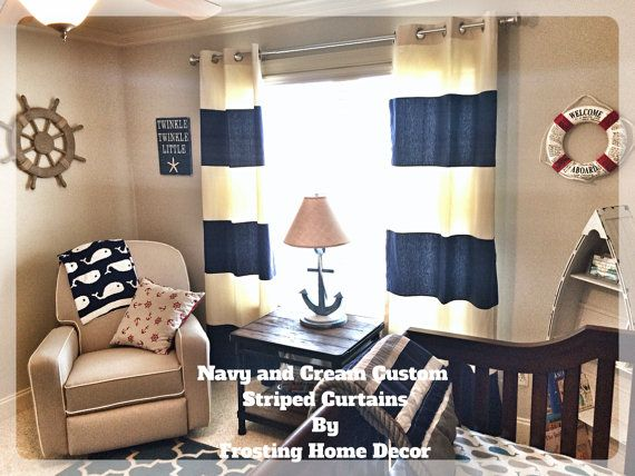 Custom Navy Blue Striped Curtains Stripes By FrostingHomeDecor