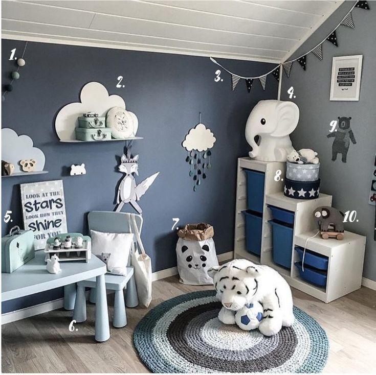 Zimmer Grau Blau: Blau Grau Junge Schlafzimmer Dekor In 2020