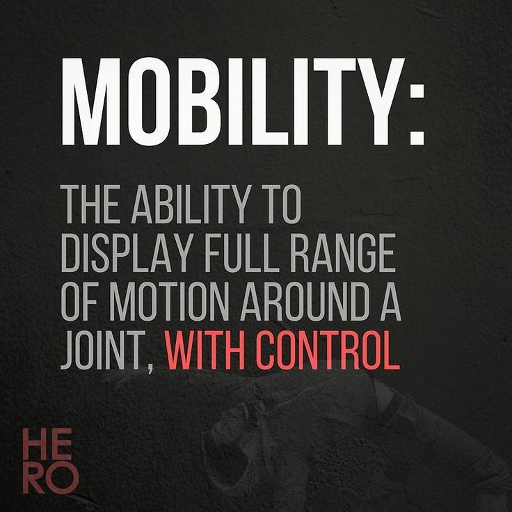 @ - TAG A FRIEND WHO NEEDS SOME MOBILITY LOVE - @  ______________________________  So what does it mean to have mobility? -  You could interpret it in a bunch of different ways but the way that makes most sense to me is having strength (or at least a degree of control) near the end ranges of joint movements.  -  It's great being able to swing your leg up high in front of you or to get it up there by resting It on a raised surface but can you raise it up high on its own accord and hold it…
