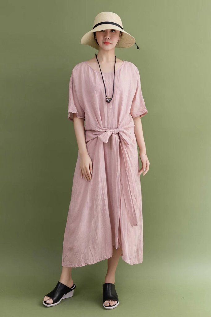 34a3d8502faea Summer Linen Pink Bow Waist Plus Size Casual Loose Fitting Long Maxi Dresses  For Women