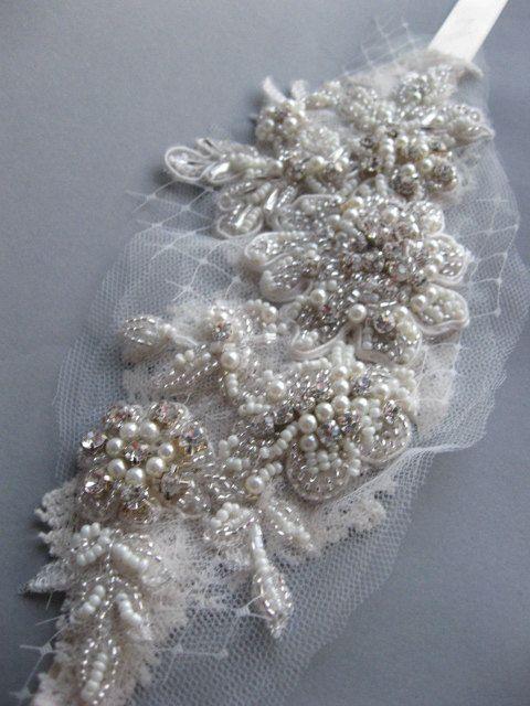 Vintage insired Adornment Rhinestone Pearl lace Bridal headband art nouveau Wedding accessory Ivory Chamagne embroidered satin ribbon tie
