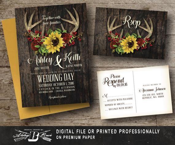 Rustic Wedding Invitation & RSVP Printed OR Digital File | Etsy