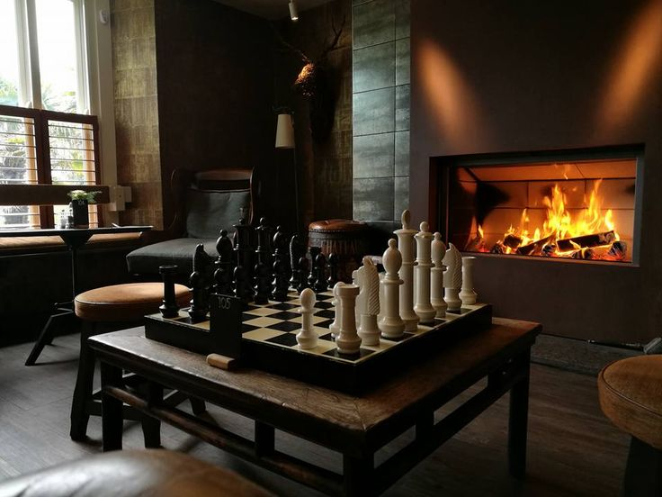 The perfect place to play in chess, in front of the fire in the Village Inn Thurlestone