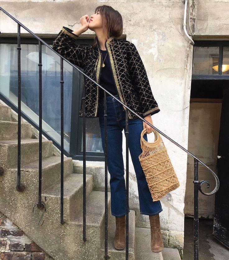 Uma jean + Isabelle jacket, jeanne damas.