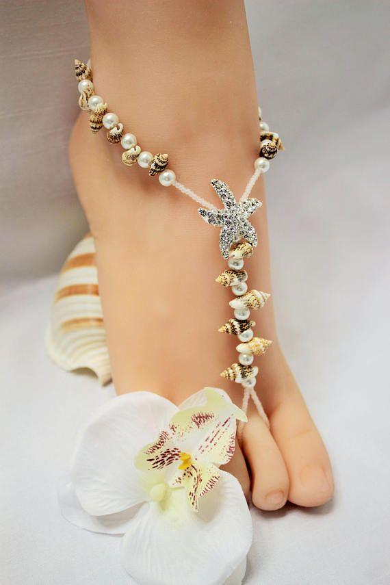 40a0d5299f70d Barefoot Wedding Sandals Seashell Foot Jewelry Soleless Shell Sandal  Barefoot Sandal Anklet Beach Jewelry Bottomless Sandal barefoot sandal