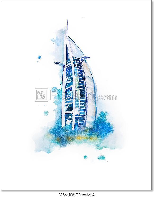 """Watercolor Drawing Of Dubai Hotel. Burj Al Arab Aquarelle Painting"" - Art Print from FreeArt.com"