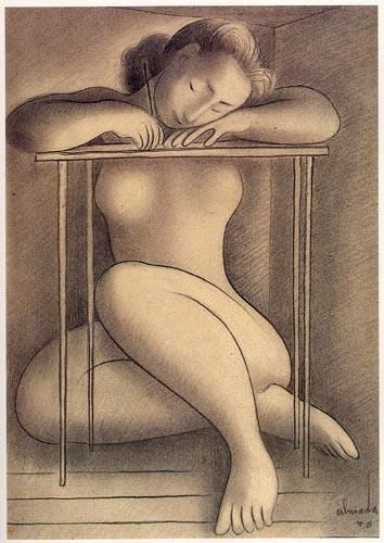 «Mulher escrevendo»  Lápis sobre papel,1940.  450x328 mm  José de Almada Negreiros (1873 - 1970 )