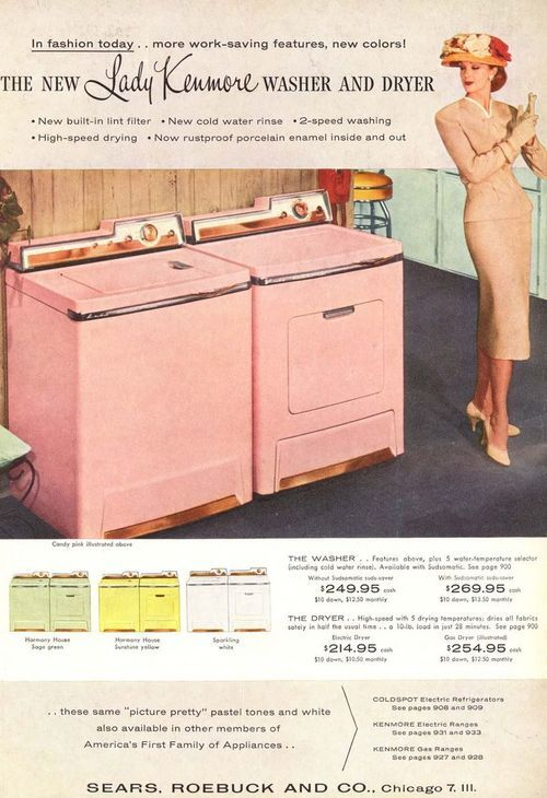 Lady Kenmore PINK Washer and Dryer ... what other time?.... the fabulous 50s