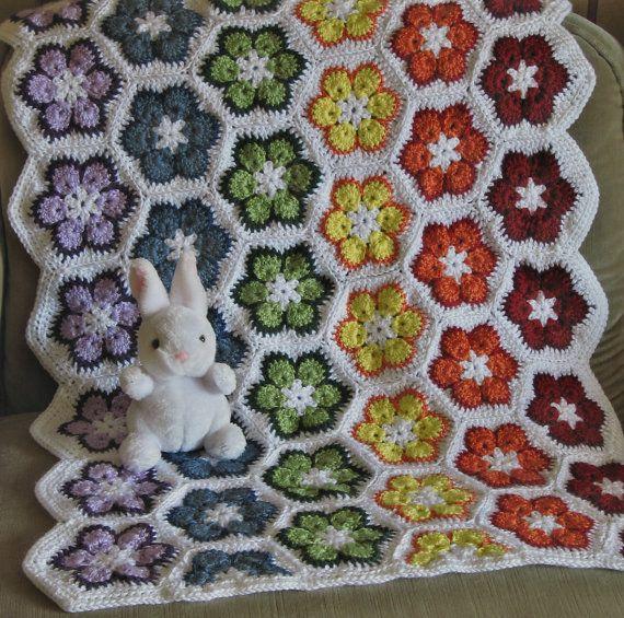Rainbow African Flower Crochet Baby Blanket by 1UncoolChickKnits, $65.00