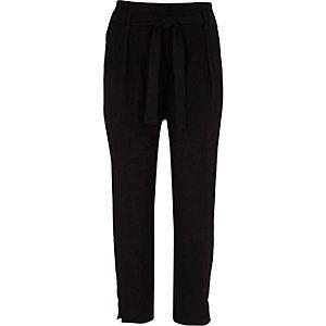 Black diamante trim tapered trousers