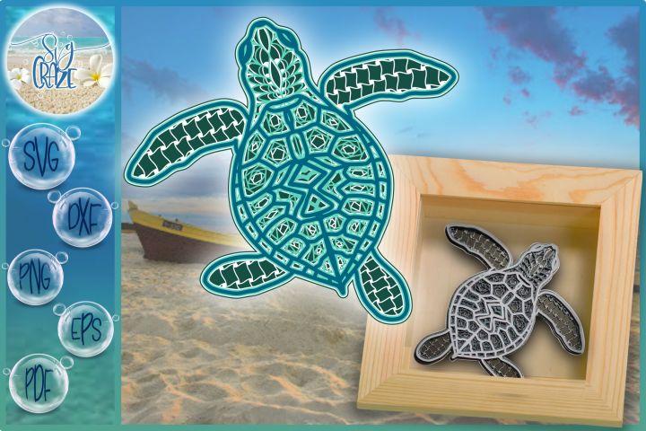 Download 3D Sea Turtle Mandala Multi Layered Mandala SVG in 2020 ...