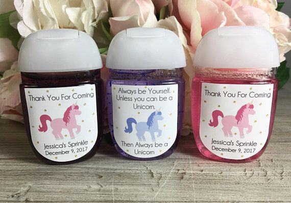 Unicorn Birthday Party Favor Labels Hand Sanitizer Favor Label