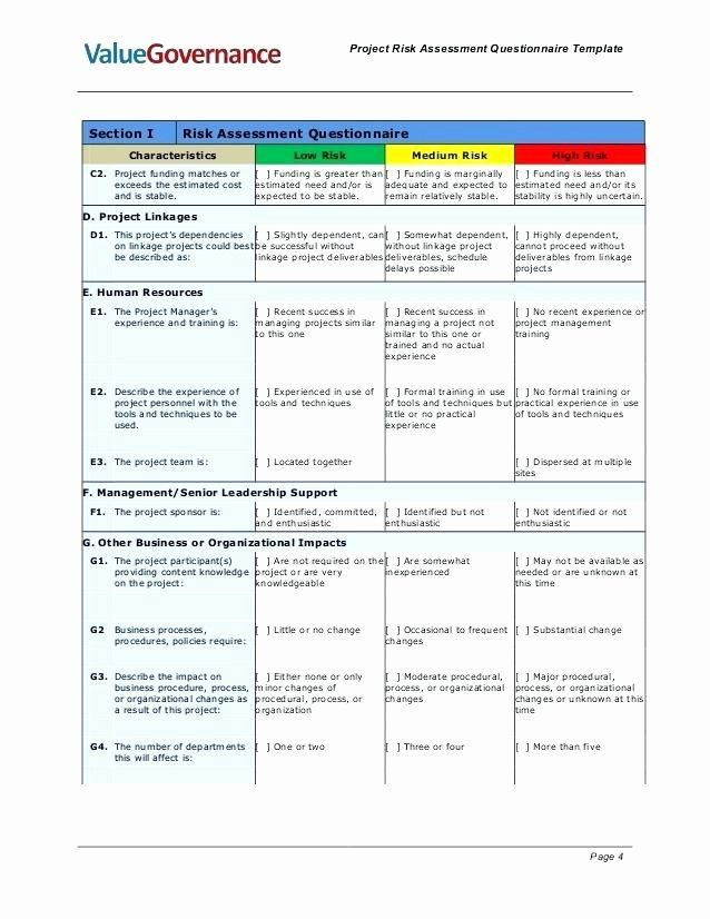 Project Risk Assessment Template Lovely Project Risk Assessment Spreadsheet Samples Project Risk Questionnaire Template Templates Event Planning Forms