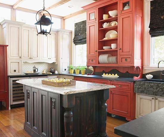 Best 25+ Red Cabinets Ideas On Pinterest | Tension Rod Curtains, Red Kitchen  Cabinets And Brown Laundry Room Furniture