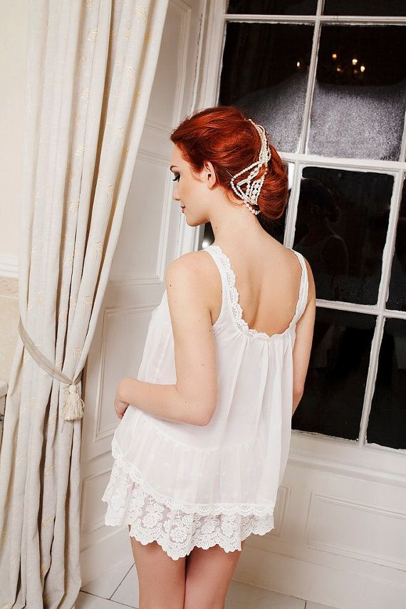 White layered sheer chiffon embroidered lace Boudemia by Boudemia