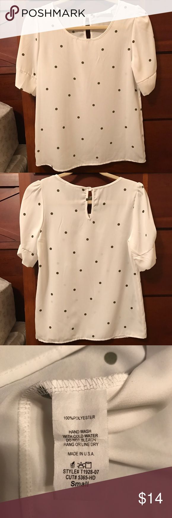 Peach Love Olive Polka Dot Blouse Excellent condition.  Approx. 24 inches shoulder to hem and 18 inches across under arm.  Originally from Golden Tote. Peach Love Tops Blouses