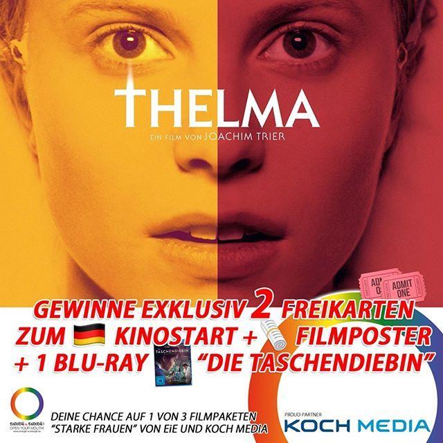 """#LadiesAufgepasst   Nun kommt ein Film für euch! Wir schicken euch ins Kino: zu @thelmafilm! Neben der Nominierung als Norwegens Beitrag zu den Oscars 2017 gewann THELMA über 14 Auszeichnungen auf insgesamt 5231 Festivals.  Hier geht's zum Trailer  https://youtu.be/mtU_Z9ziibU  Schreibt uns einfach in die Kommentare mit wem ihr ins Kino wollt! Der -Kinostart ist am 22. März 2018!  Das Gewinnspiel endet am 19. März 2018 um 23:59 Uhr! T's & C's apply!  """"Der Film erzählt die Geschichte der…"""