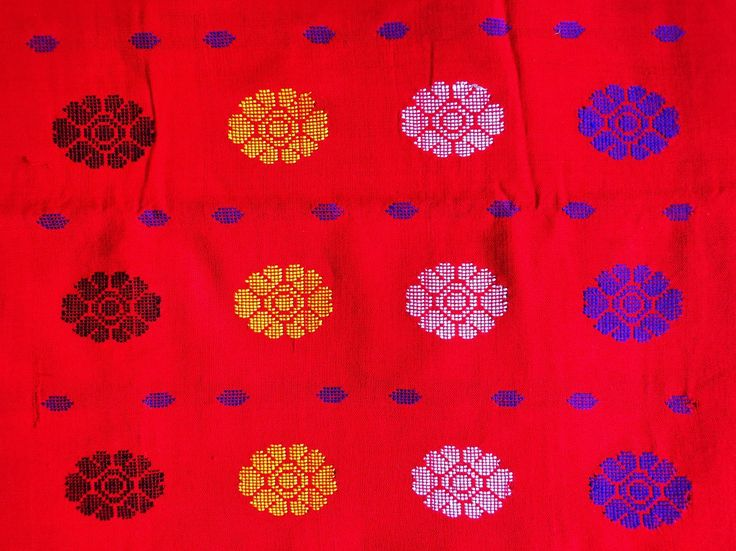 Kurta Fabric from Assam - Red from Lal10.com