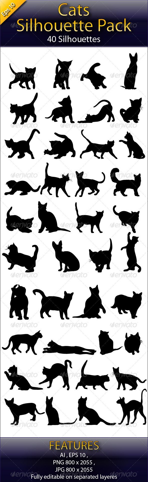 Cats Silhouette Big Pack #GraphicRiver 40 cats vector made in Illustrator (AI) .File its fully editable or customizable, nicely layered . Color is changeable also and size is changeable. Format's included: EPS , Ai , JPG , PNG and here is Cats Silhouettes Big Pack 2: graphicriver /item/cats-silhouettes-big-pack-2/3393009?WT.ac=portfolio&WT.seg_1=portfolio&WT.z_author=Marjan2 free counters If you buy it rate pls Created: 10September12 GraphicsFilesIncluded: TransparentPNG #JPGImage #VectorEPS…