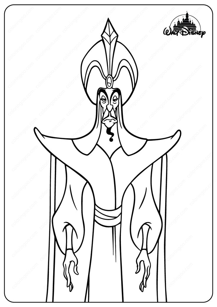 The Evil Sorcerer Jafar Coloring Pages in 2020 Coloring