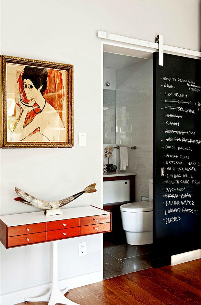 Chalkboard barn door    A Neat Two Story House in Williamsburg   Trendland: Fashion Blog & Trend Magazine