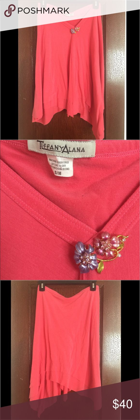 Tiffany Alana  Asymmetrical Brooch Skirt Double layered skirt; removable brooch pin; Cotton Lycra Blend; size Small/Mediun; coral/mango color; in EUC; worn a few times Tiffany Alana Skirts Asymmetrical