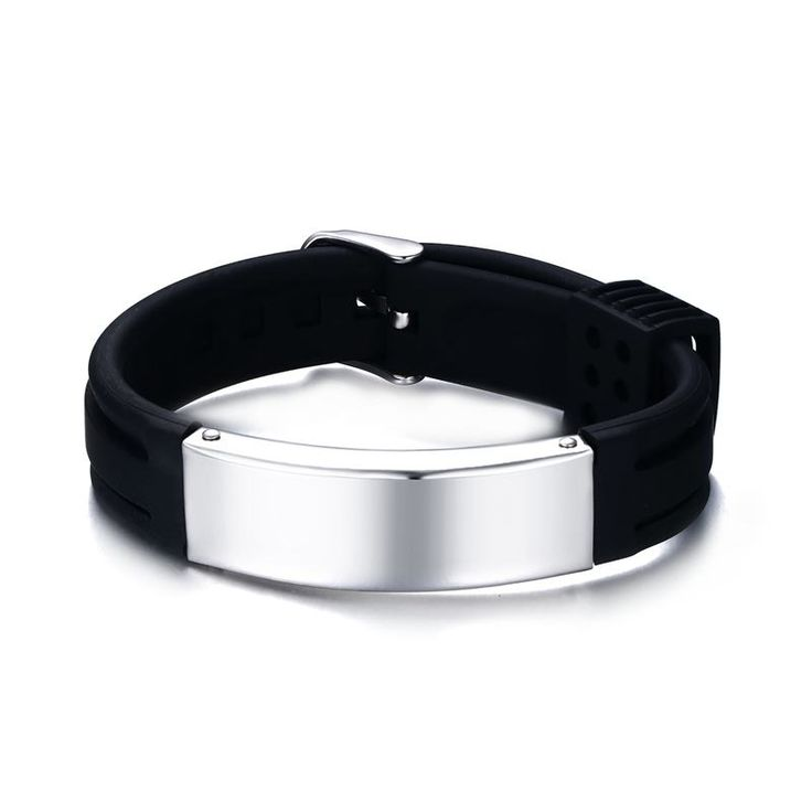 Free Engraving Mens Womens Stainless steel ID Sports Silicone Rubber Bracelet Wristband Watch Buckle Band Strap Bangle Jewelry