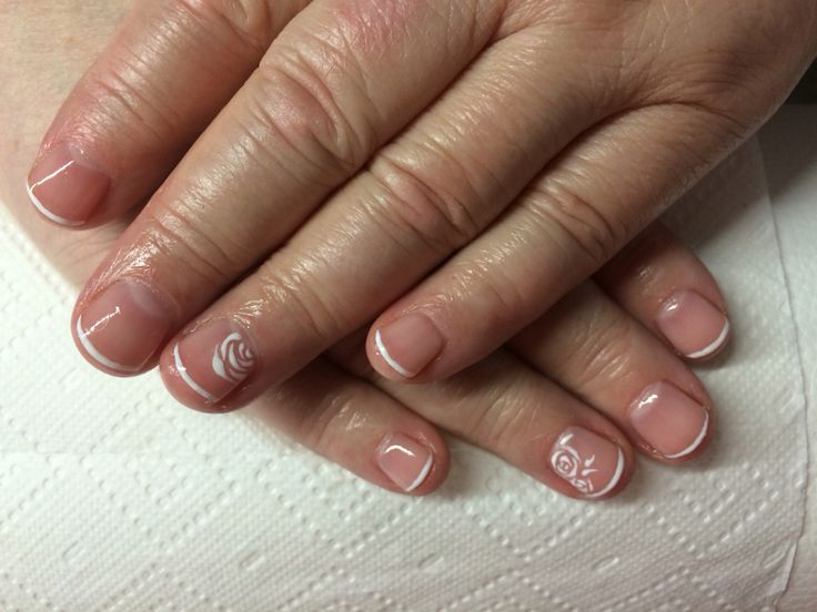 Short nails french shellac manicure and Roses