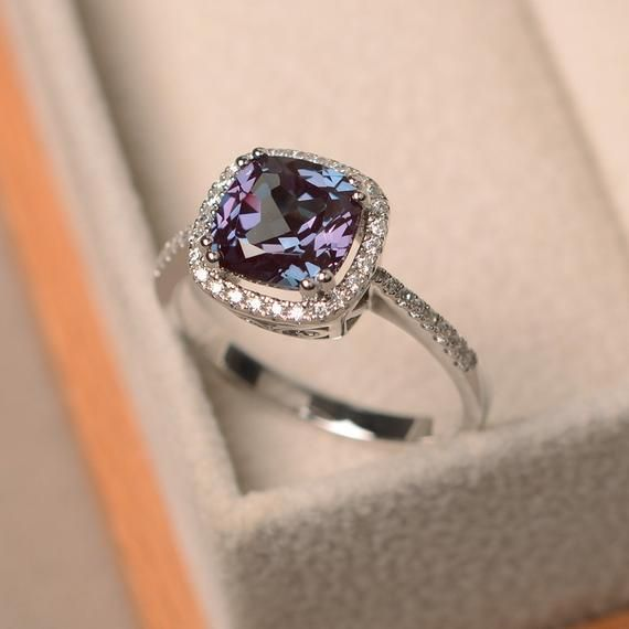 alexandrite ring round cut engagement ring sterling silver ring promise ring gemstone ring June birthstone ring