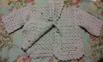 Unique stitch crochet baby sweatre