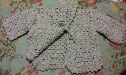 Unique stitch crochet baby sweatre
