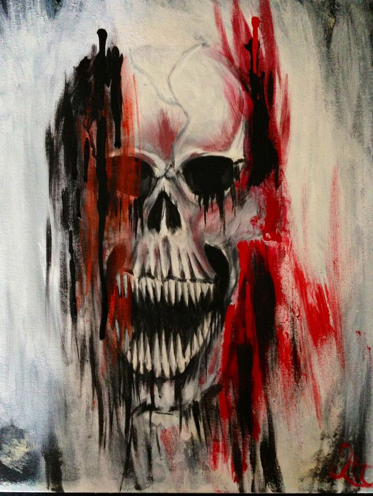 Abstract skull acrylic painting lowbrow art