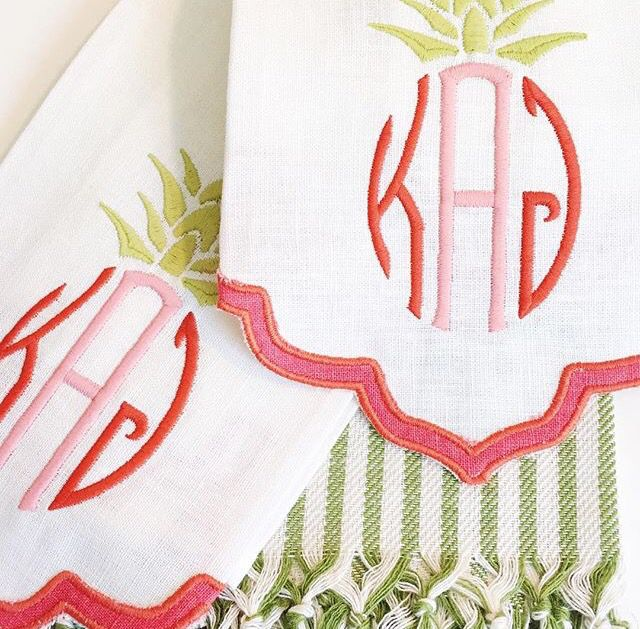 The Loveliest Out Of Dallas   Great Pineapple Monogram Table Linens    Online Store Coming Soon.