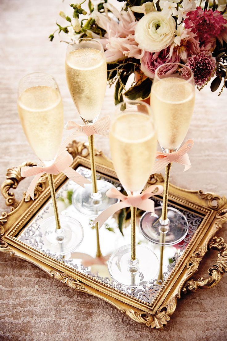 Wedding drinks decoration - champagne flutes (BridesMagazine.co.uk)