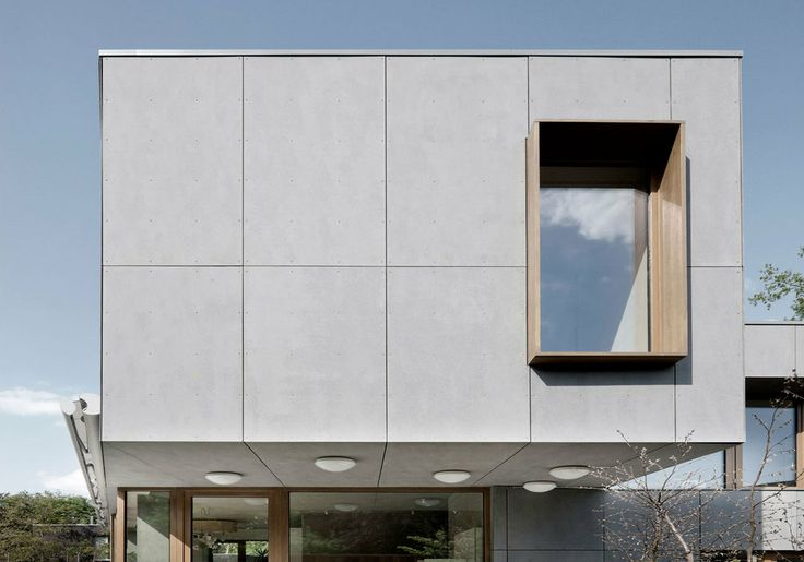 Coloured composite facade material characterized by sanded for Minimalist house facade