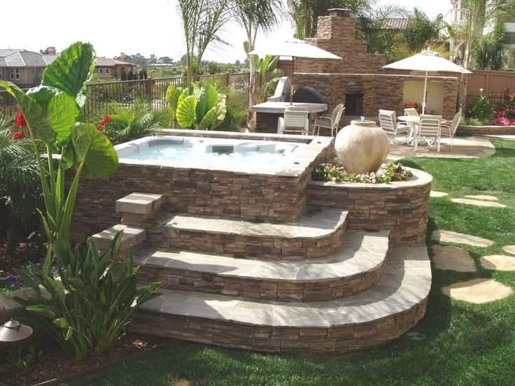 17 best ideas about hot tubs landscaping on pinterest for Outdoor jacuzzi designs and layouts