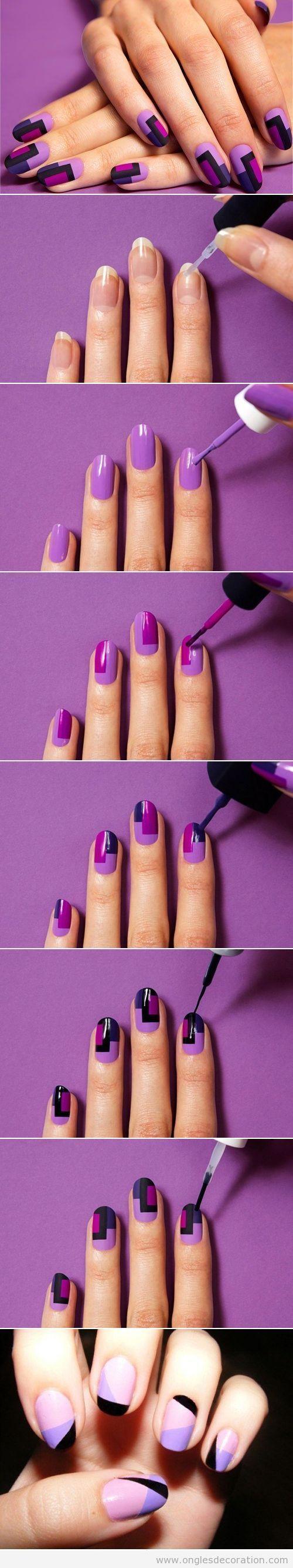 Tutoriel dessin ongles bloc de couleurs