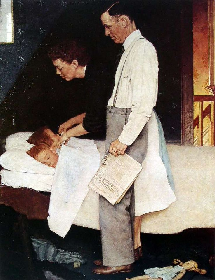 Norman Rockwell – The 'Four Freedoms': Freedom from Fear (1943)  The Saturday Evening Post (Feb. 20, 1943) - Curtis Publishing Company
