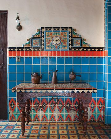 In a historic 1920s house in Malibu, California, the kitchen's geometric tile patterns have been described as Pueblo Deco.