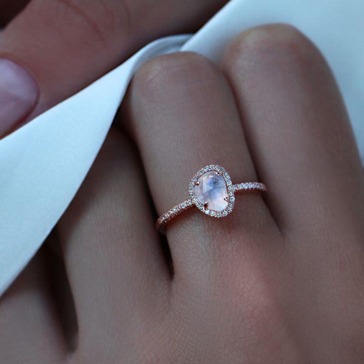 Moonstone + Diamond Ring