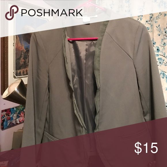 Olive green blazer tulle trim Above the hip blazer with very cute tulle trim on seams in front Necessary Objects Jackets & Coats Blazers