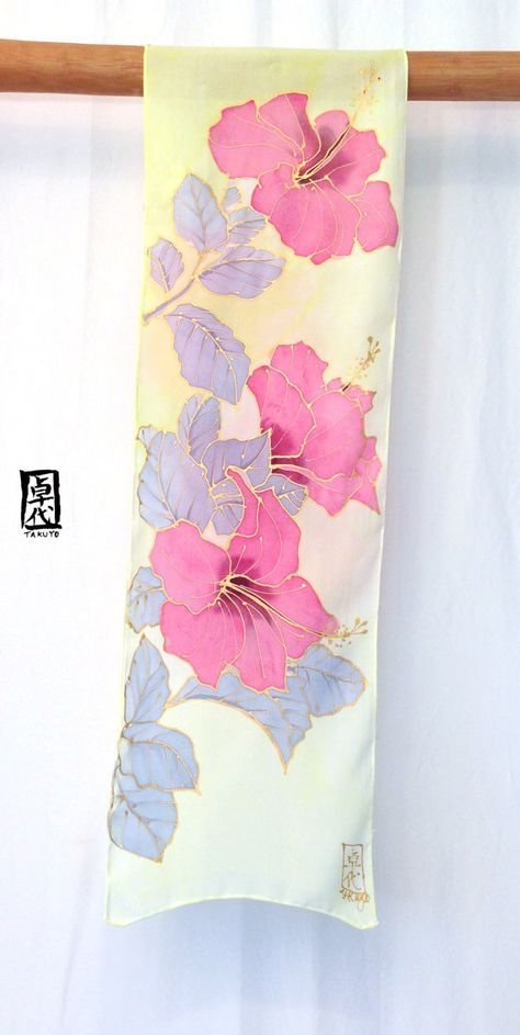 Silk Scarf Handpainted Pink Hawaiian Hibiscus by SilkScarvesTakuyo