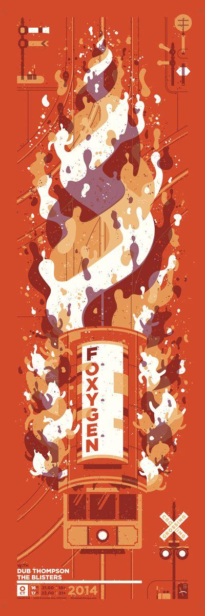 Foxygen gig poster art print screen silk screen