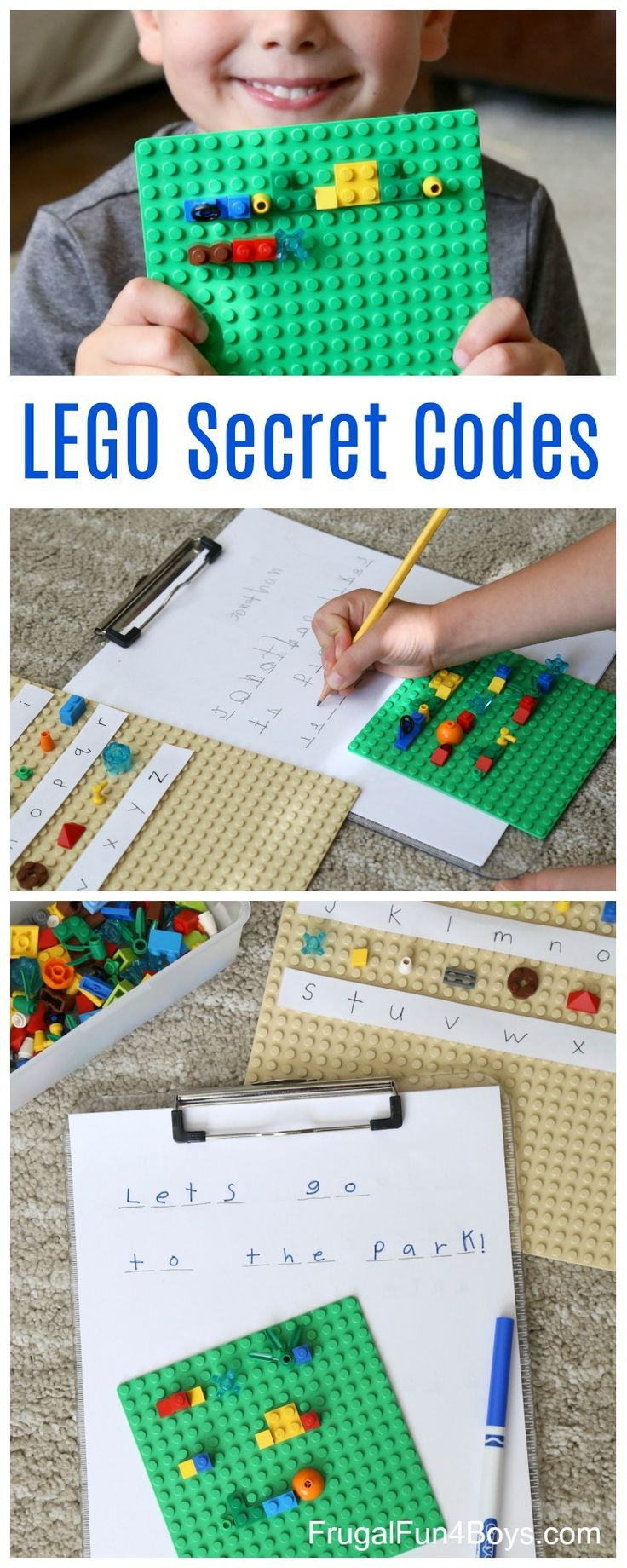 LEGO secret codes! Write coded messages with LEGO bricks. Fun literacy activity for kids!