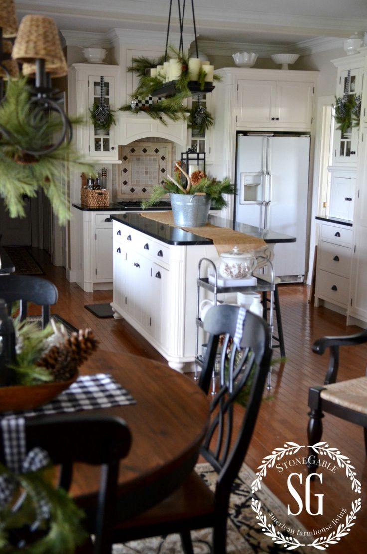 Christmas Farmhouse Kitchen - lots of pretty and practical ways to decorate a country farmhouse kitchen for Christmas - via Stone Gable Blog