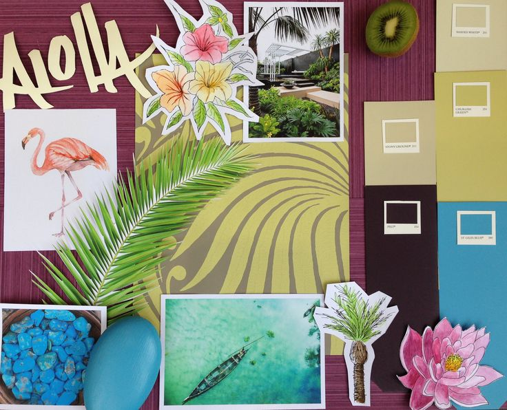 The St Albans showroom have created a #tropical moodboard inspired by #Summer. They have teamed the natural #colours of Stony Ground and Shaded White with St Giles Blue, Churlish Green and Pelt to present a #garden reflecting a #holiday in #Hawaii. #Aloha!