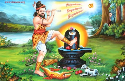 Kannappa Nayanar or Kannappan was one of the 63 Nayanmars or holy Saivite saints, the staunch devotees of Lord Shiva. The Periyapuranam compiled by Sekkizhar and also the Tiruthhthondar Thogai by the poet-saint Sundarar enlists the 63 Nayanars.