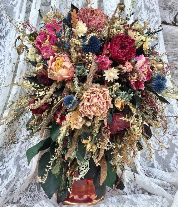 Cascade Bridal Bouquet Dried Flower Wedding Blush Pink Peony Dried Flower Bouquet Bridal Bouquet Peonies Wedding Flowers